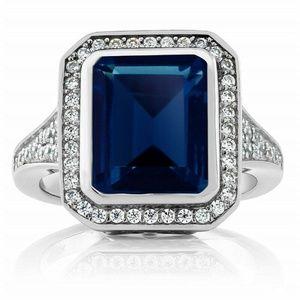 Elegance 925 Silver Square Sapphire gemstone Ring